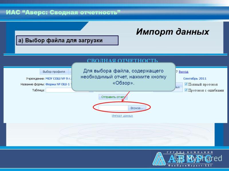 а) Выбор файла для загрузки Для выбора файла, содержащего необходимый отчет, нажмите кнопку «Обзор». Импорт данных