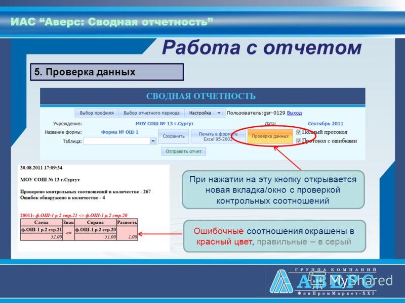 Работа с отчетом 5. Проверка данных При нажатии на эту кнопку открывается новая вкладка/окно с проверкой контрольных соотношений Ошибочные соотношения окрашены в красный цвет, правильные – в серый