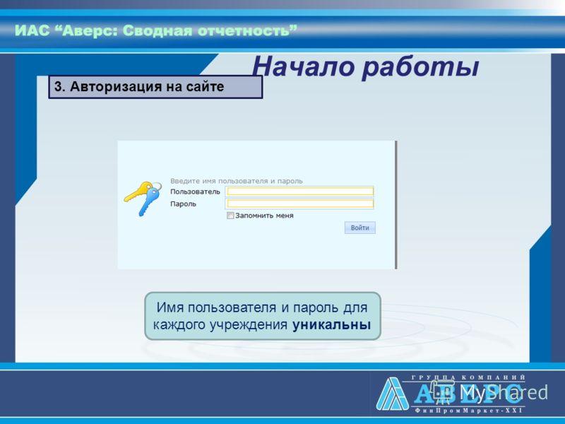 Начало работы Имя пользователя и пароль для каждого учреждения уникальны 3. Авторизация на сайте