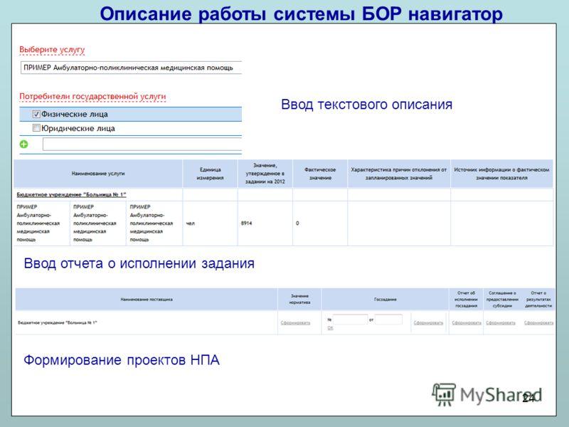 Описание работы системы БОР навигатор 24 Ввод текстового описания Ввод отчета о исполнении задания Формирование проектов НПА