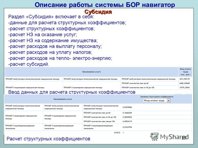 Описание работы системы БОР навигатор 25 Ввод данных для расчета структурных коэффициентов Раздел «Субсидия» включает в себя: -данные для расчета структурных коэффициентов; -расчет структурных коэффициентов; -расчет НЗ на оказание услуг; -расчет НЗ н
