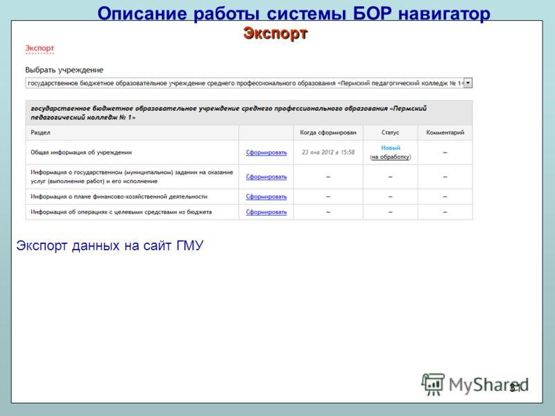 Описание работы системы БОР навигатор 31 Экспорт данных на сайт ГМУ Экспорт