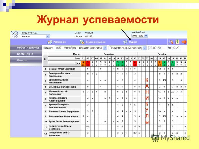 Журнал успеваемости КАНИКУЛыКАНИКУЛы