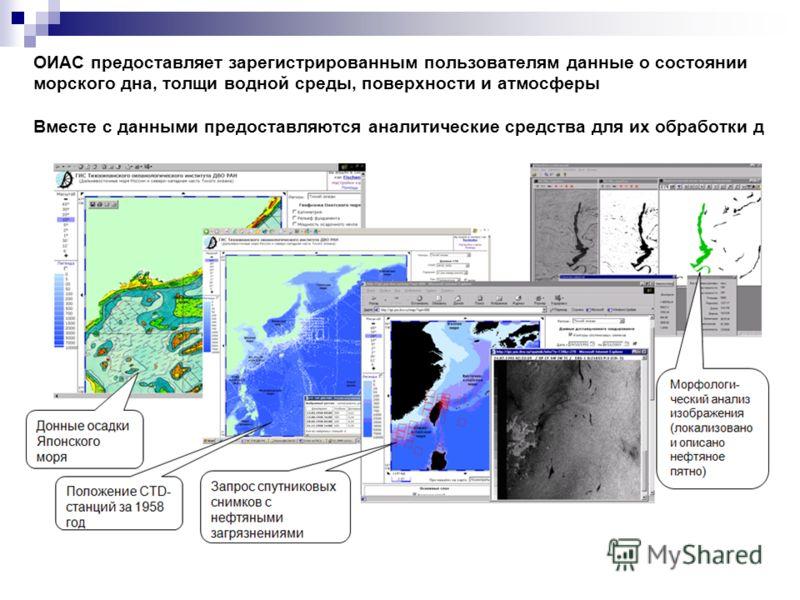 ОИАС предоставляет зарегистрированным пользователям данные о состоянии морского дна, толщи водной среды, поверхности и атмосферы Вместе с данными предоставляются аналитические средства для их обработки д
