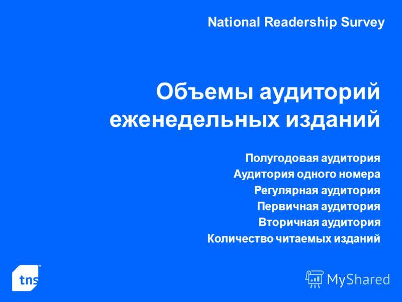 National Readership Survey Объемы аудиторий еженедельных изданий Полугодовая аудитория Аудитория одного номера Регулярная аудитория Первичная аудитория Вторичная аудитория Количество читаемых изданий