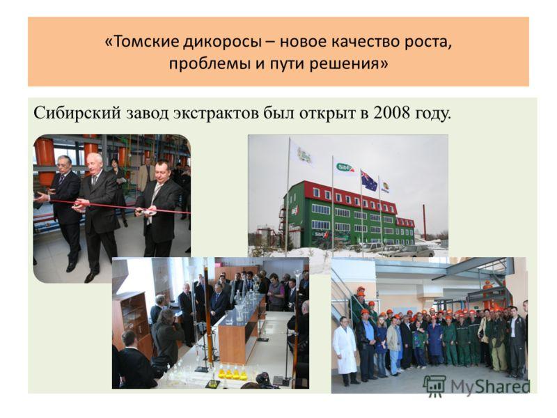«Томские дикоросы – новое качество роста, проблемы и пути решения» Сибирский завод экстрактов был открыт в 2008 году.