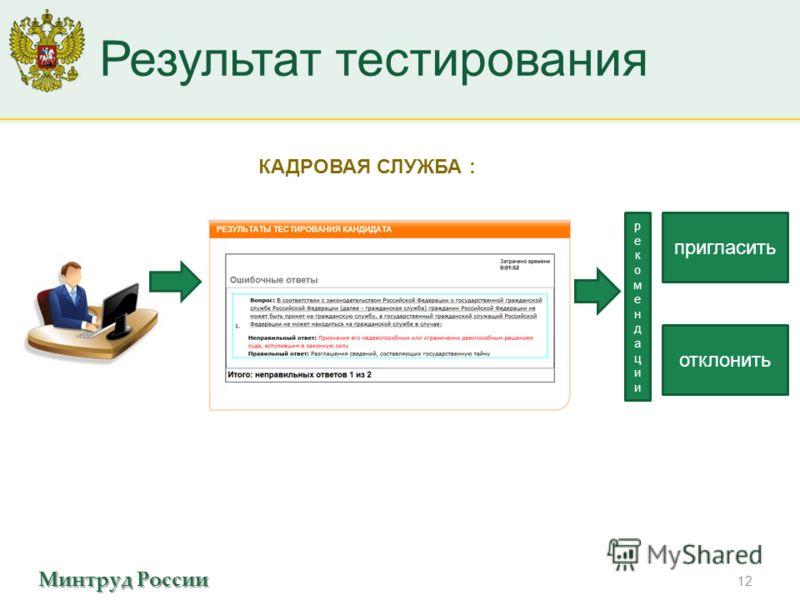 Минтруд России Результат тестирования 12 КАДРОВАЯ СЛУЖБА : пригласить отклонить рекомендациирекомендации