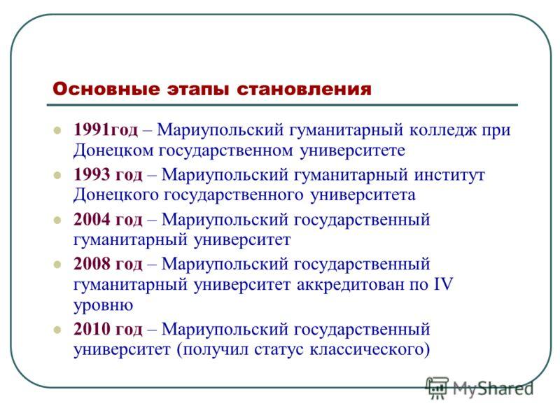 Основные этапы становления 1991год – Мариупольский гуманитарный колледж при Донецком государственном университете 1993 год – Мариупольский гуманитарный институт Донецкого государственного университета 2004 год – Мариупольский государственный гуманита