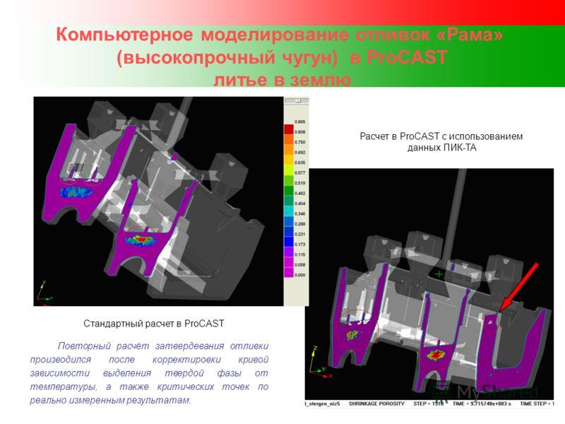 Компьютерное моделирование отливок «Рама» (высокопрочный чугун) в ProCAST литье в землю Повторный расчёт затвердевания отливки производился после корректировки кривой зависимости выделения твердой фазы от температуры, а также критических точек по реа