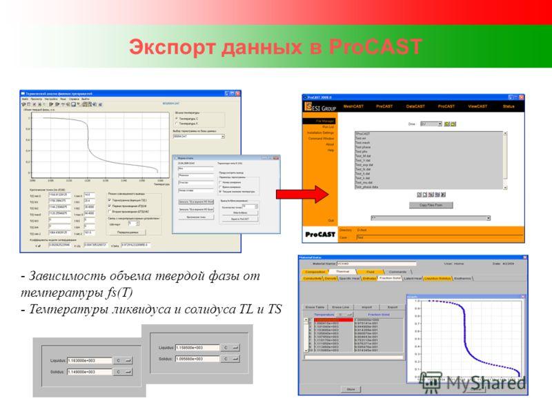 Экспорт данных в ProCAST - Зависимость объема твердой фазы от температуры fs(T) - Температуры ликвидуса и солидуса TL и TS