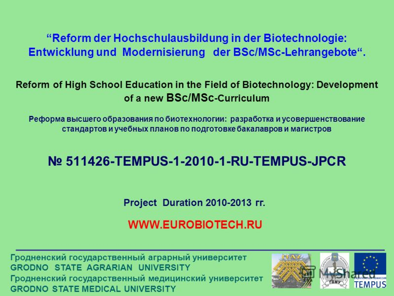 Reform der Hochschulausbildung in der Biotechnologie: Entwicklung und Modernisierung der BSc/MSc-Lehrangebote. Reform of High School Education in the Field of Biotechnology: Development of a new BSc/MSc -Curriculum Реформа высшего образования по биот