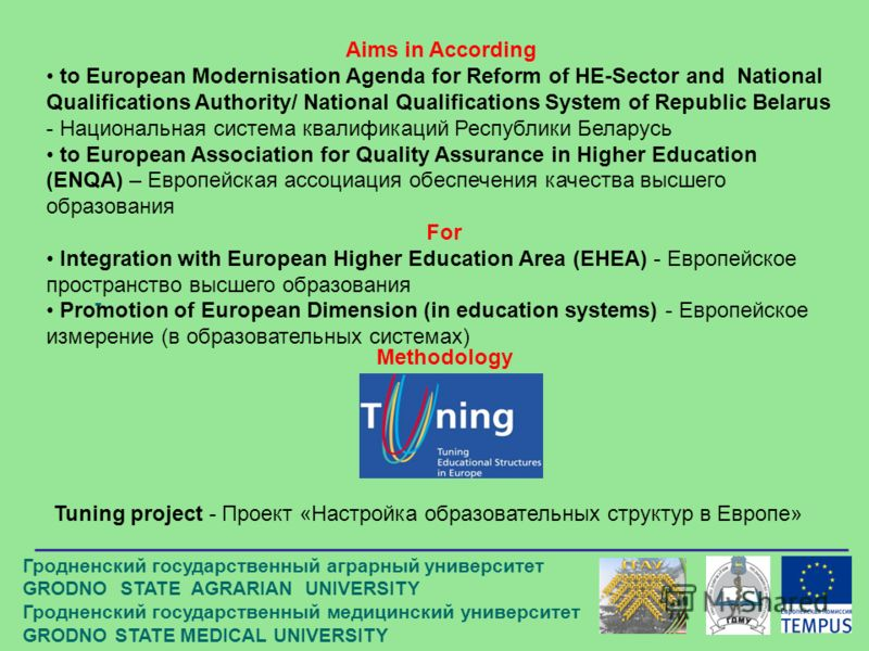 - Aims in According to European Modernisation Agenda for Reform of HE-Sector and National Qualifications Authority/ National Qualifications System of Republic Belarus - Национальная система квалификаций Республики Беларусь to European Association for