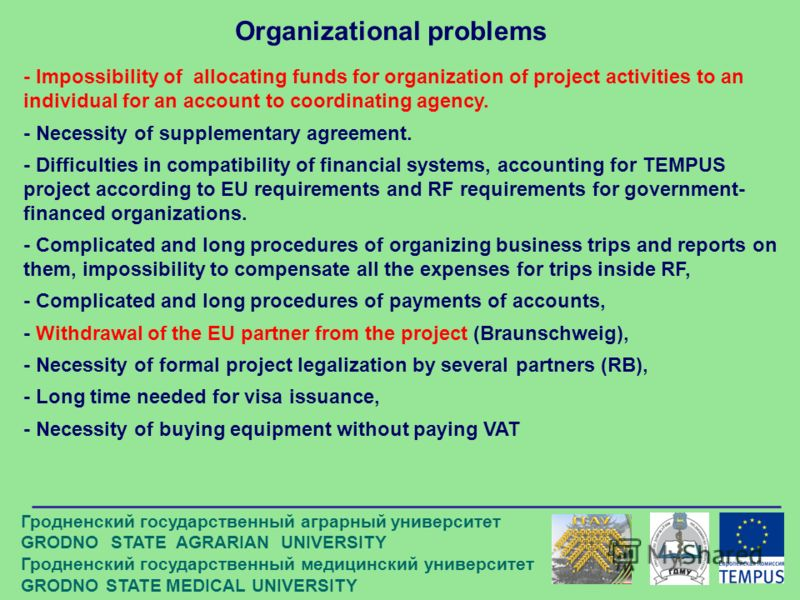 Organizational problems - Impossibility of allocating funds for organization of project activities to an individual for an account to coordinating agency. - Necessity of supplementary agreement. - Difficulties in compatibility of financial systems, a