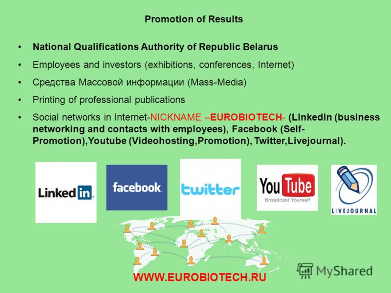Promotion of Results National Qualifications Authority of Republic Belarus Employees and investors (exhibitions, conferences, Internet) Средства Массовой информации (Mass-Media) Printing of professional publications Social networks in Internet-NICKNA