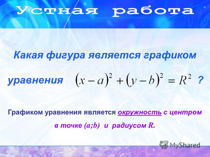Графиком уравнения является окружность с центром в точке ( a;b) и радиусом R. Какая фигура является графиком уравнения ?