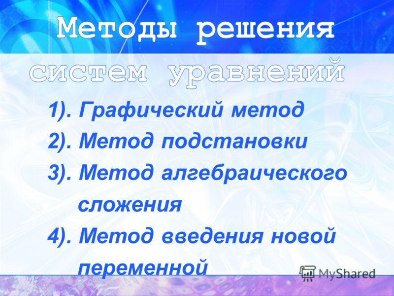 1). Графический метод 2). Метод подстановки 3). Метод алгебраического сложения 4). Метод введения новой переменной
