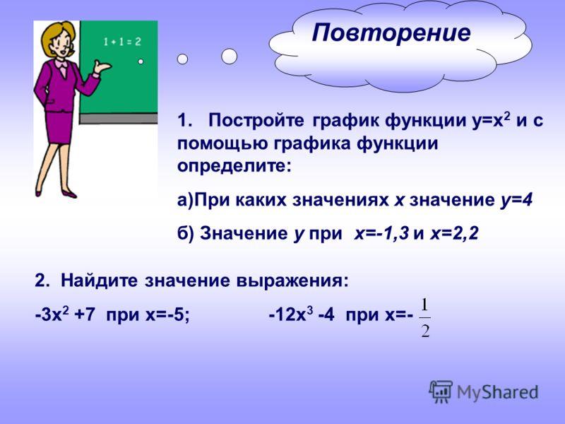 Повторение 1. Постройте график функции у=х 2 и с помощью графика функции определите: а)При каких значениях х значение у=4 б) Значение у при х=-1,3 и х=2,2 2. Найдите значение выражения: -3х 2 +7 при х=-5; -12х 3 -4 при х=-