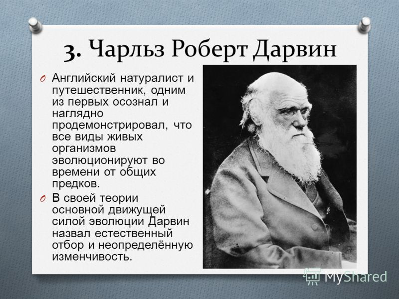 3. Чарльз Роберт Дарвин O Английский натуралист и путешественник, одним из первых осознал и наглядно продемонстрировал, что все виды живых организмов эволюционируют во времени от общих предков. O В своей теории основной движущей силой эволюции Дарвин