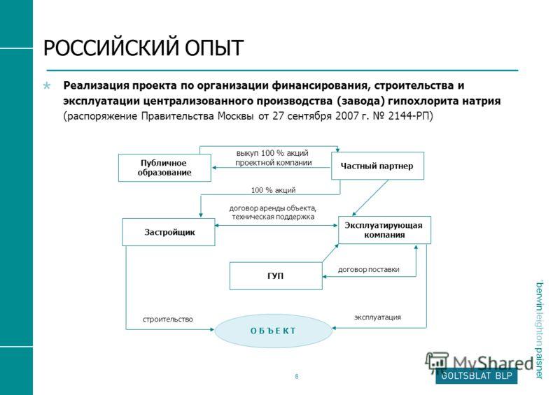 * berwin leighton paisner 8 РОССИЙСКИЙ ОПЫТ Реализация проекта по организации финансирования, строительства и эксплуатации централизованного производства (завода) гипохлорита натрия (распоряжение Правительства Москвы от 27 сентября 2007 г. 2144-РП) П