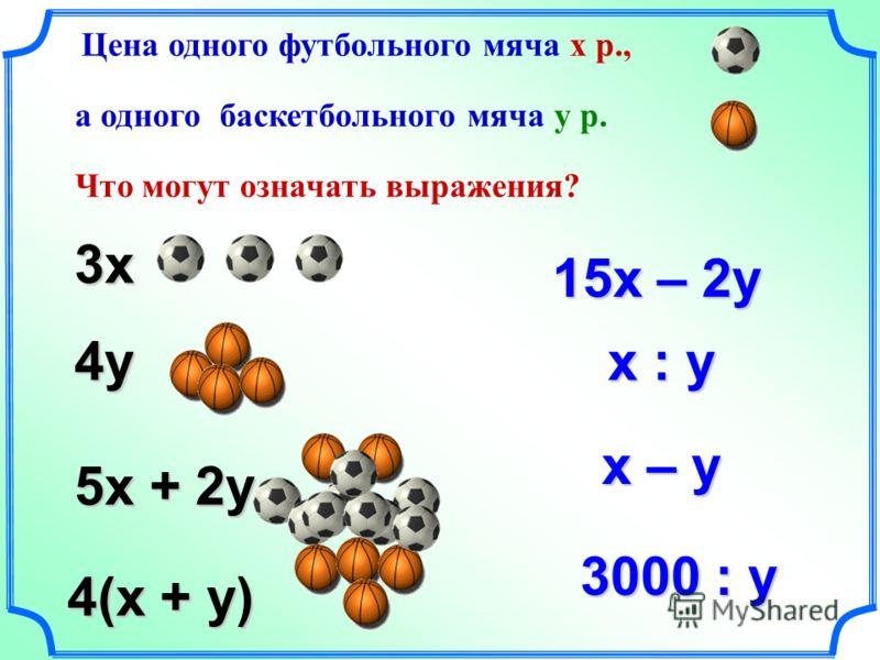 Цена одного футбольного мяча х р., а одного баскетбольного мяча у р. Что могут означать выражения? 3х 4у 5х + 2у 15х – 2у 4(х + у) 3000 : у х : у х – у х – у