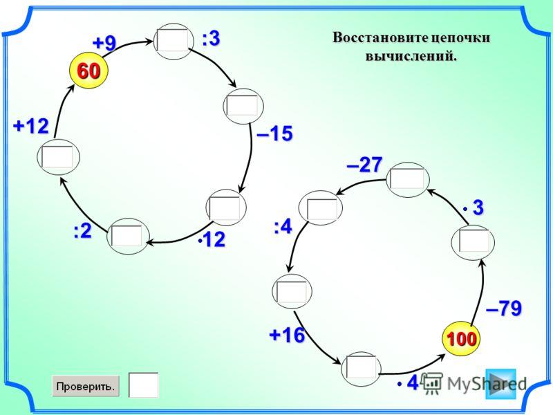 Восстановите цепочки вычислений. 100 –79460 +9 :3 –1512:2 +123–27 :4 +16
