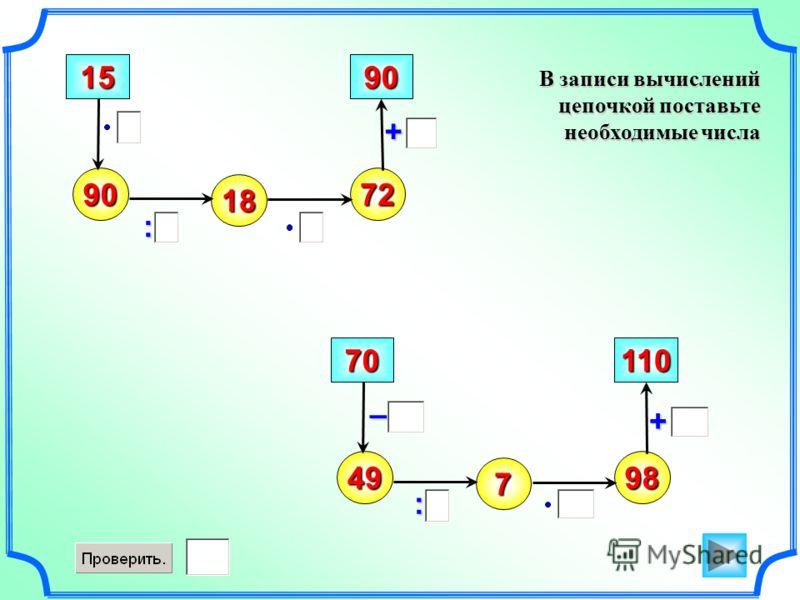 В записи вычислений цепочкой поставьте необходимые числа – 90 : + 15 18 72 90 49 70 7 98 110 : +