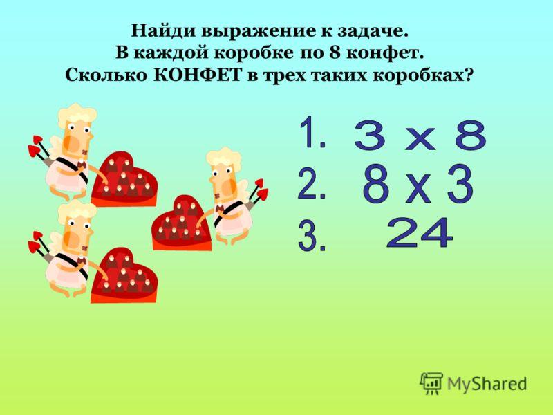 Найди выражение к задаче. В каждой коробке по 8 конфет. Сколько КОНФЕТ в трех таких коробках?