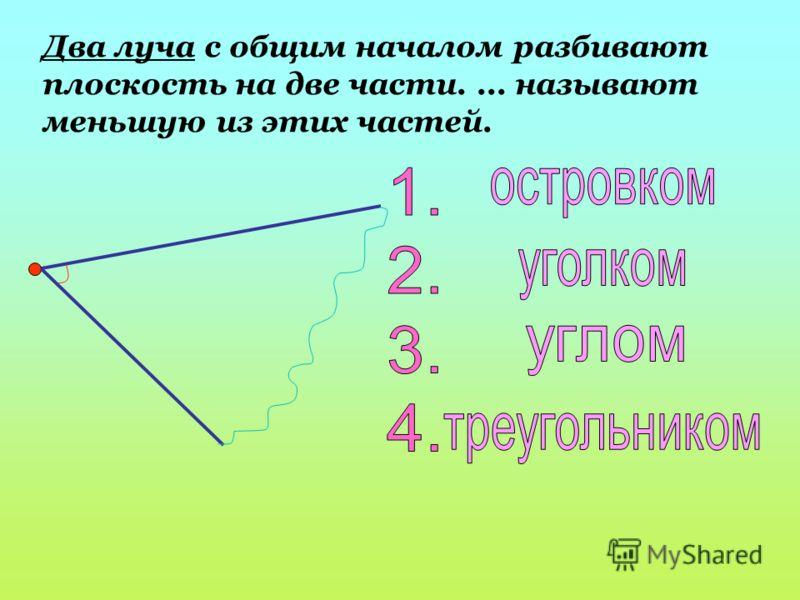 Два луча с общим началом разбивают плоскость на две части.... называют меньшую из этих частей.