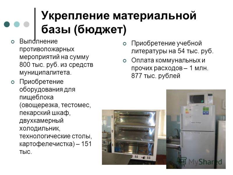 Укрепление материальной базы (бюджет) Выполнение противопожарных мероприятий на сумму 800 тыс. руб. из средств муниципалитета. Приобретение оборудования для пищеблока (овощерезка, тестомес, пекарский шкаф, двухкамерный холодильник, технологические ст