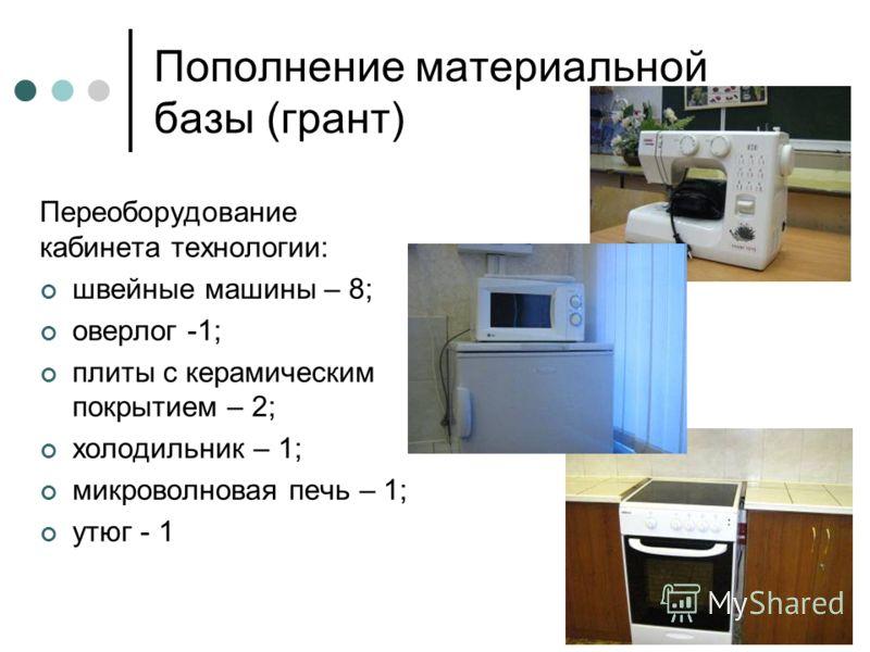 Пополнение материальной базы (грант) Переоборудование кабинета технологии: швейные машины – 8; оверлог -1; плиты с керамическим покрытием – 2; холодильник – 1; микроволновая печь – 1; утюг - 1