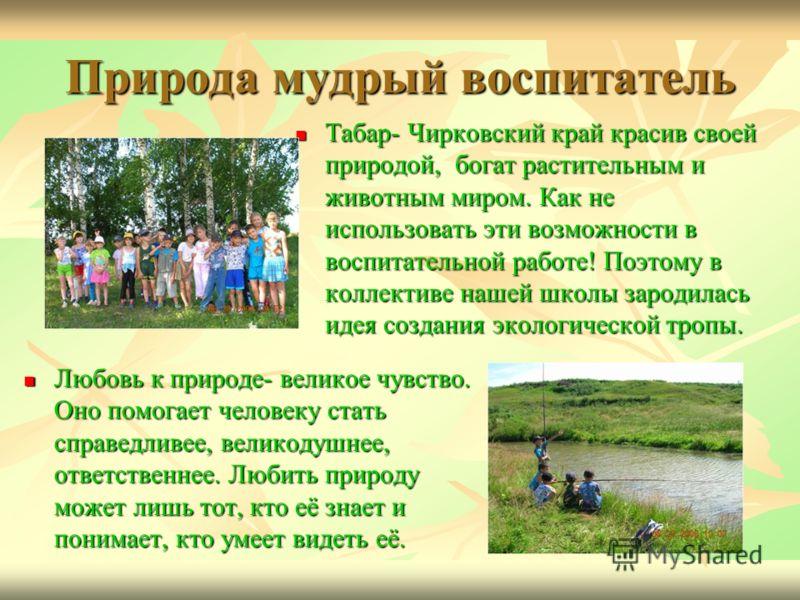 Природа мудрый воспитатель Табар- Чирковский край красив своей природой, богат растительным и животным миром. Как не использовать эти возможности в воспитательной работе! Поэтому в коллективе нашей школы зародилась идея создания экологической тропы.
