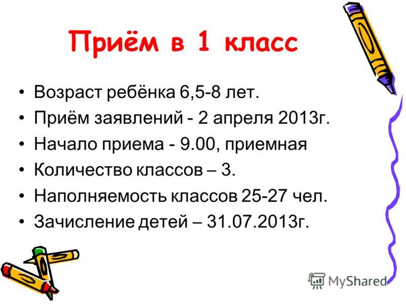Приём в 1 класс Возраст ребёнка 6,5-8 лет. Приём заявлений - 2 апреля 2013г. Начало приема - 9.00, приемная Количество классов – 3. Наполняемость классов 25-27 чел. Зачисление детей – 31.07.2013г.