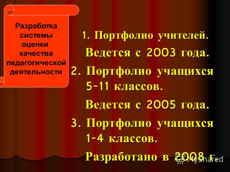 1. Портфолио учителей. Ведется с 2003 года. Ведется с 2003 года. 2. Портфолио учащихся 5-11 классов. Ведется с 2005 года. Ведется с 2005 года. 3. Портфолио учащихся 1-4 классов. Разработано в 2008 г. Разработано в 2008 г. Разработка системы оценки ка