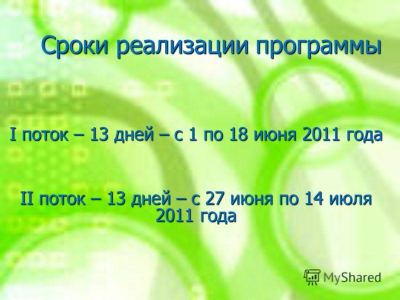 Сроки реализации программы I поток – 13 дней – с 1 по 18 июня 2011 года II поток – 13 дней – с 27 июня по 14 июля 2011 года