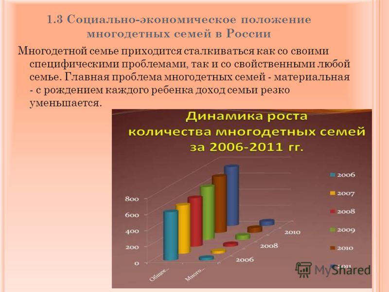 1.3 Социально-экономическое положение многодетных семей в России Многодетной семье приходится сталкиваться как со своими специфическими проблемами, так и со свойственными любой семье. Главная проблема многодетных семей - материальная - с рождением ка