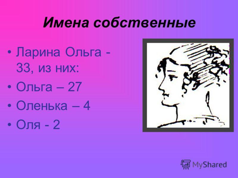 Имена собственные Ларина Ольга - 33, из них: Ольга – 27 Оленька – 4 Оля - 2