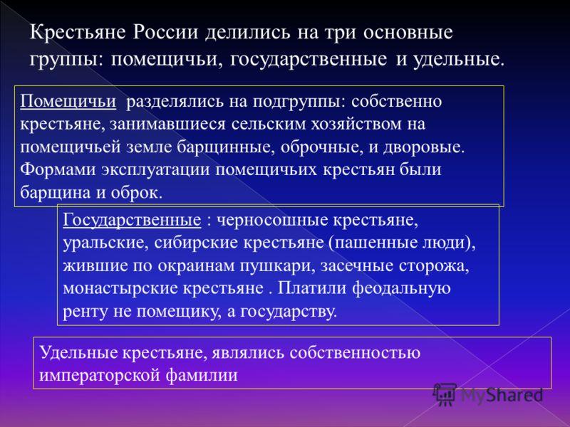 Крестьяне России делились на три основные группы: помещичьи, государственные и удельные. Помещичьи разделялись на подгруппы: собственно крестьяне, занимавшиеся сельским хозяйством на помещичьей земле барщинные, оброчные, и дворовые. Формами эксплуата