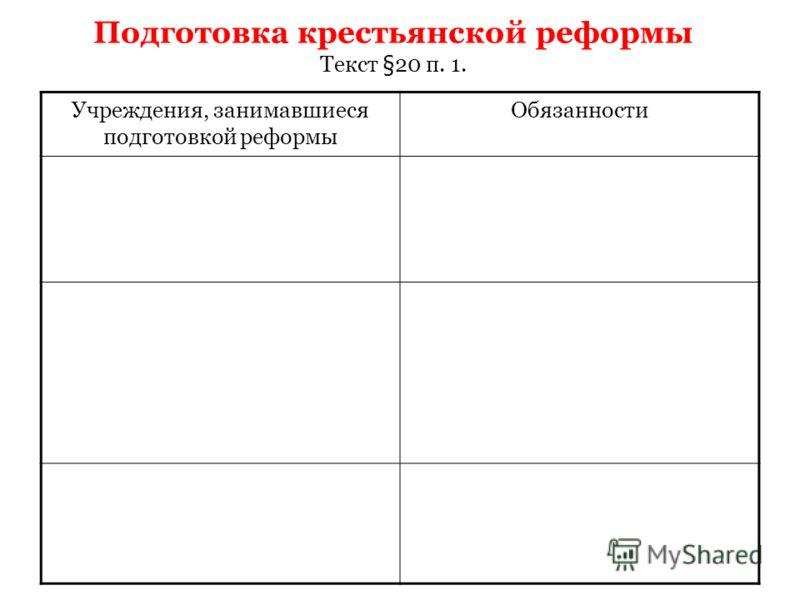 Подготовка крестьянской реформы Текст §20 п. 1. Учреждения, занимавшиеся подготовкой реформы Обязанности