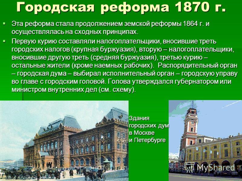 Городская реформа 1870 г. Эта реформа стала продолжением земской реформы 1864 г. и осуществлялась на сходных принципах. Эта реформа стала продолжением земской реформы 1864 г. и осуществлялась на сходных принципах. Первую курию составляли налогоплател