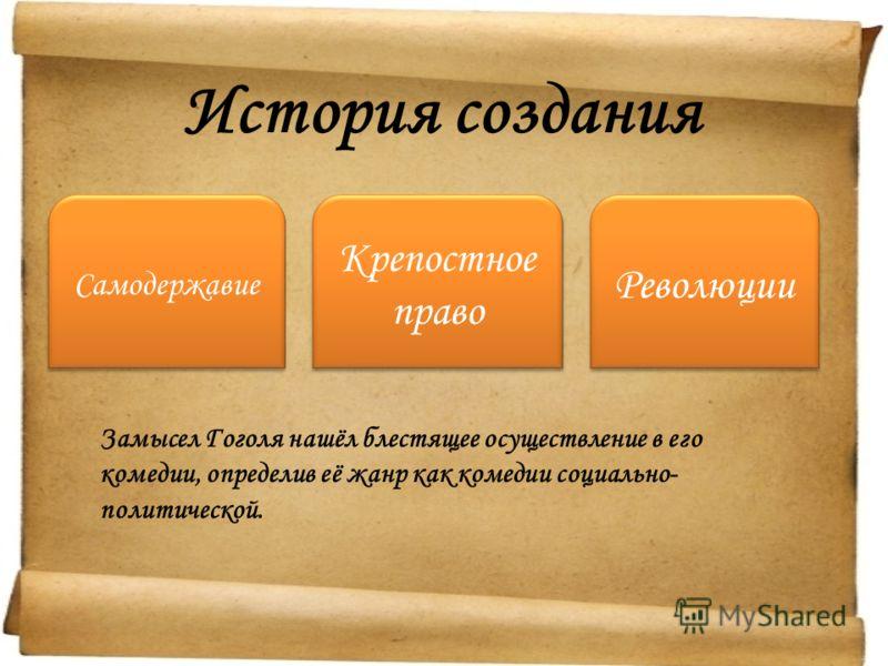 История создания Самодержавие Крепостное право Революции Замысел Гоголя нашёл блестящее осуществление в его комедии, определив её жанр как комедии социально- политической.