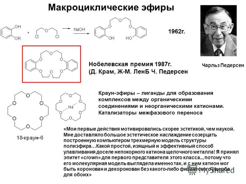 Макроциклические эфиры Чарльз Педерсен 1962г. Нобелевская премия 1987г. (Д. Крам, Ж-М. ЛенБ Ч. Педерсен «Мои первые действия мотивировались скорее эстетикой, чем наукой. Мне доставляло большое эстетическое наслаждение созерцать построенную компьютеро