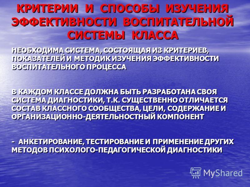 КРИТЕРИИ И СПОСОБЫ ИЗУЧЕНИЯ ЭФФЕКТИВНОСТИ ВОСПИТАТЕЛЬНОЙ СИСТЕМЫ КЛАССА НЕОБХОДИМА СИСТЕМА, СОСТОЯЩАЯ ИЗ КРИТЕРИЕВ, ПОКАЗАТЕЛЕЙ И МЕТОДИК ИЗУЧЕНИЯ ЭФФЕКТИВНОСТИ ВОСПИТАТЕЛЬНОГО ПРОЦЕССА В КАЖДОМ КЛАССЕ ДОЛЖНА БЫТЬ РАЗРАБОТАНА СВОЯ СИСТЕМА ДИАГНОСТИКИ
