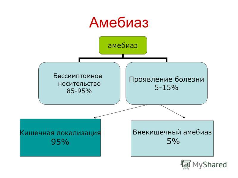 Амебиаз амебиаз Бессимптомное носительство 85-95% Проявление болезни 5-15% Кишечная локализация 95% Внекишечный амебиаз 5%
