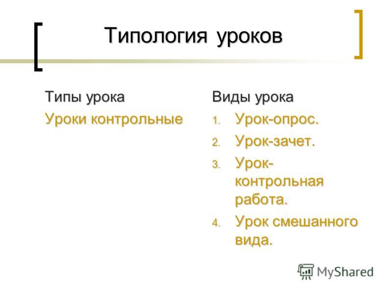 Типология уроков Типы урока Уроки контрольные Виды урока 1. Урок-опрос. 2. Урок-зачет. 3. Урок- контрольная работа. 4. Урок смешанного вида.
