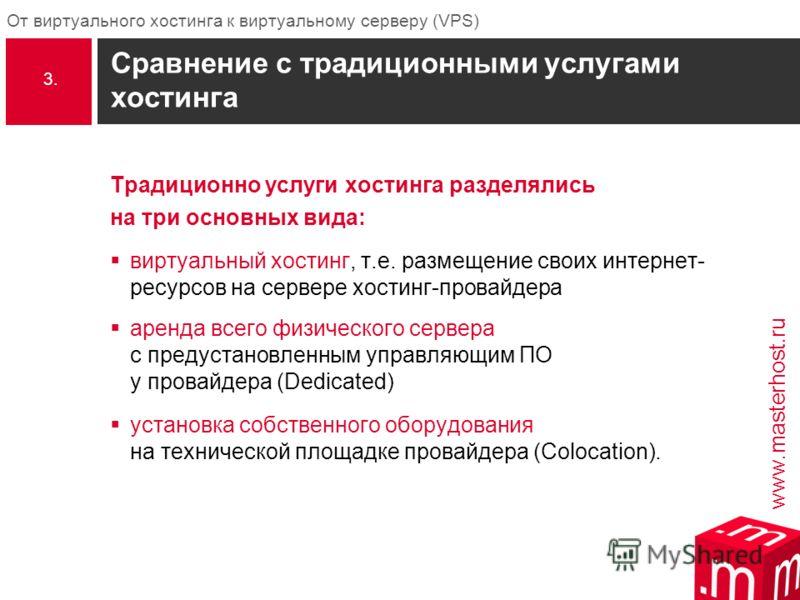 www.masterhost.ru От виртуального хостинга к виртуальному серверу (VPS) Сравнение с традиционными услугами хостинга Традиционно услуги хостинга разделялись на три основных вида: виртуальный хостинг, т.е. размещение своих интернет- ресурсов на сервере