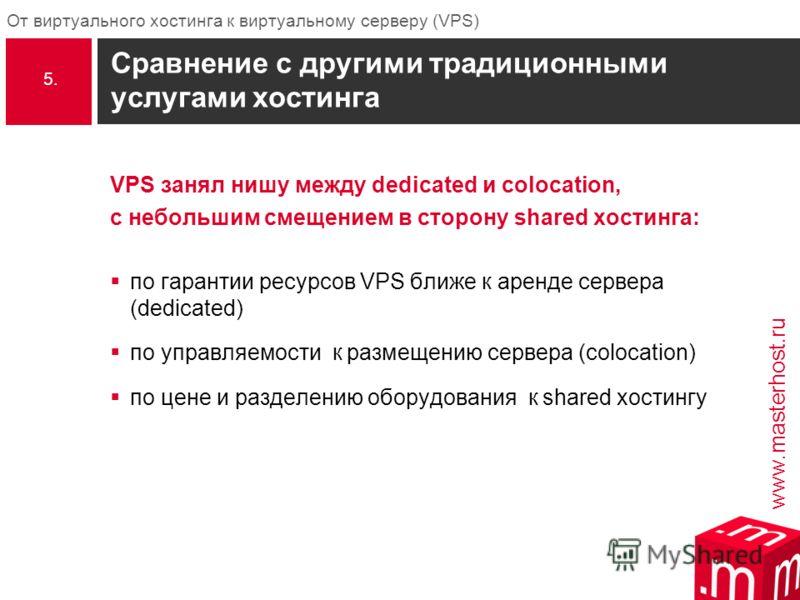 www.masterhost.ru От виртуального хостинга к виртуальному серверу (VPS) Сравнение с другими традиционными услугами хостинга VPS занял нишу между dedicated и colocation, с небольшим смещением в сторону shared хостинга: по гарантии ресурсов VPS ближе к