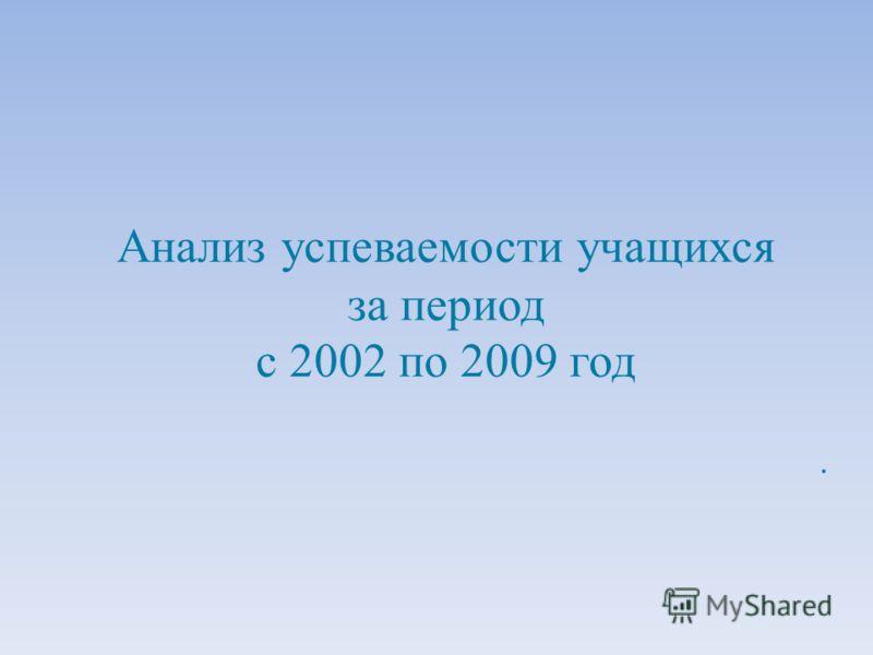 Анализ успеваемости учащихся за период с 2002 по 2009 год.
