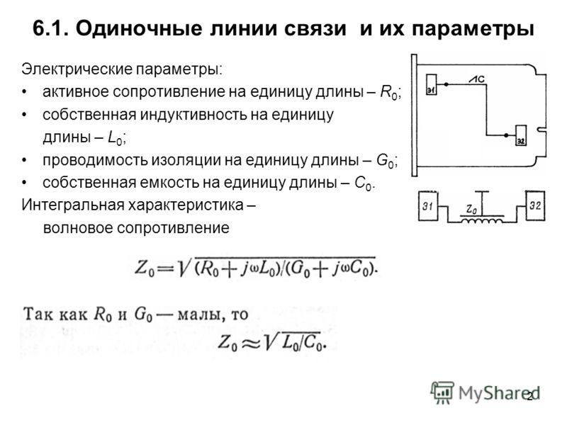 2 6.1. Одиночные линии связи и их параметры Электрические параметры: активное сопротивление на единицу длины – R 0 ; собственная индуктивность на единицу длины – L 0 ; проводимость изоляции на единицу длины – G 0 ; собственная емкость на единицу длин