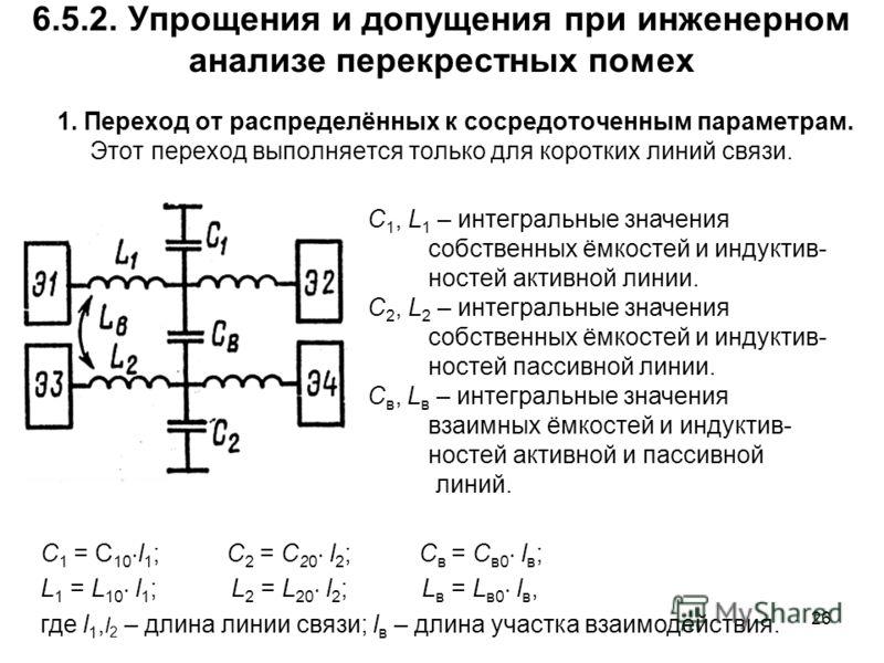 26 6.5.2. Упрощения и допущения при инженерном анализе перекрестных помех 1. Переход от распределённых к сосредоточенным параметрам. Этот переход выполняется только для коротких линий связи. C 1, L 1 – интегральные значения собственных ёмкостей и инд