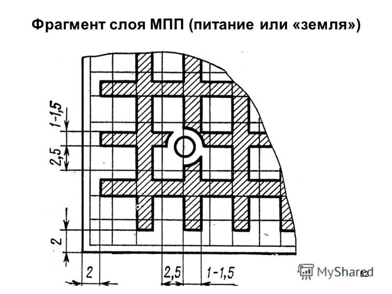 52 Фрагмент слоя МПП (питание или «земля»)
